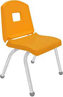 """product image for Creative Colors 1-Pack 14"""" Kids Preschool Stackable Split Bucket Chair in Yellow with Platinum Silver Frame and Ball Glide"""