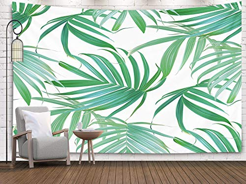 Tapestry Wall Hanging,Anucky Tapestries Polyester Fabric for Home Decoration, Palm Frond Tropical Leaves Pattern Banana Leaf Background Exotic Isolated Dorm Décor and Bedroom 80x60 inch Huge Tapestry