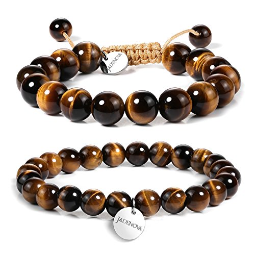 - JADENOVA 8/10mm Natural Yellow Tiger Eye Gemstone Bracelet Elastic Stretch Yoga Beaded Bracelet Bangle Healing Crystal Bracelet Couples Gifts for Men Women (2pcs Bracelet Set)