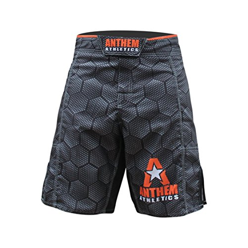 Anthem Athletics RESILIENCE MMA Shorts - Black Hex With Orange - 36""
