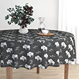 Round Tablecloth - Buffalo Southwest Trendy Boho Monochrome Southwestern Animals by Littlearrowdesign - Cotton Sateen Tablecloth 70in