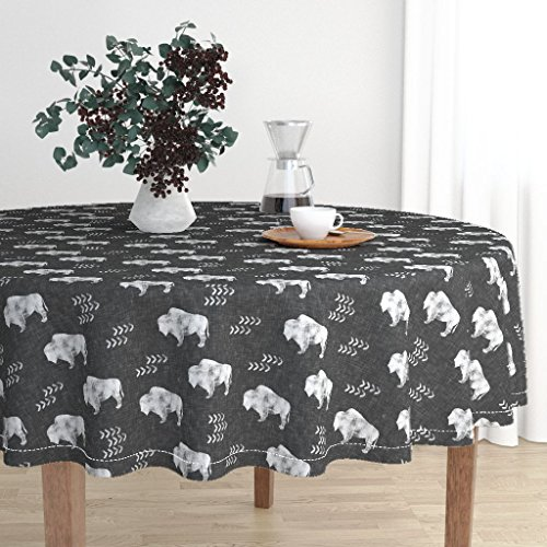 Round Tablecloth - Buffalo Southwest Trendy Boho Monochrome Southwestern Animals by Littlearrowdesign - Cotton Sateen Tablecloth 70in by Roostery