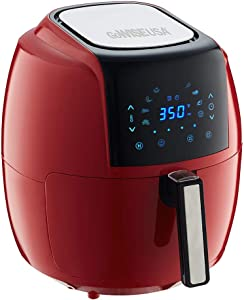 GoWISE USA 5.8-Quart Programmable 8-in-1 Air Fryer XL + Recipe Book (Chili Red)