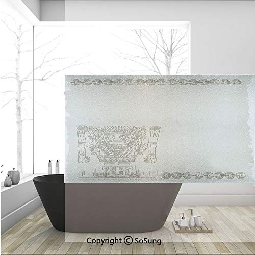 3D Decorative Privacy Window Films,Mayan and Inca Tribal Symbols Superstition Primitive Relic Archeology,No-Glue Self Static Cling Glass Film for Home Bedroom Bathroom Kitchen Office 36x24 Inch