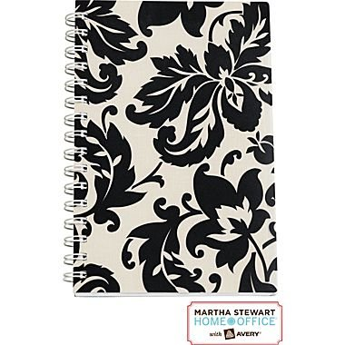 "Martha Stewart Home Office™ with Avery™ Damask Notebook, Black, 5-1/2"" X 8-1/2"""