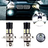 cciyu 2 Pack White New H4 6000K 30W 3000LM Cree Headlight LED 12 SMD Motorcycle Light Lamp US