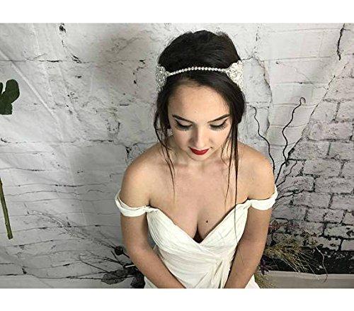 Bridal Hair Comb, White Pearl Headpiece, Silver Headband, Hair Jewelry, Head Chain, Prom hair accessories