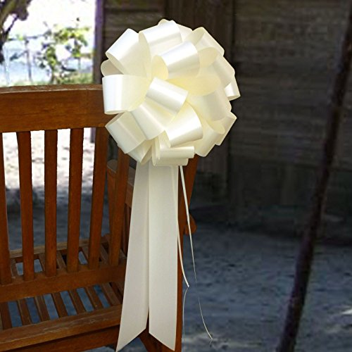 Big Decorative Ivory Ribbon Pull Bows with Long Tails - 9