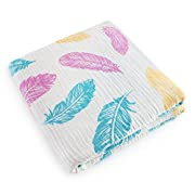 Sale! Luxury Muslin Swaddle Blanket Extra Large (47 by 47') for Girls and Boys (Gender Neutral/Unisex) 100% Organic Cotton | Feather Print (Blue, Pink, Yellow) Sleep wrap for Baby (Newborn/Infant)