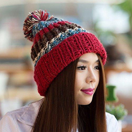 Damas Colores Pescado Coreana de Tapa Maozi Punto Huesos Red de Invierno Mezclados para de Lana versión otoño RED de xvnwqf