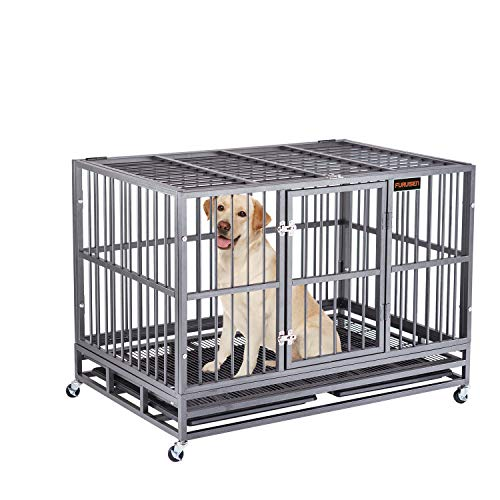 Heavy Duty Dog Crate, Strong Metal Military Pet Kennel Playpen Large Dogs Cage with Lockable Wheels & Two Prevent Escape…