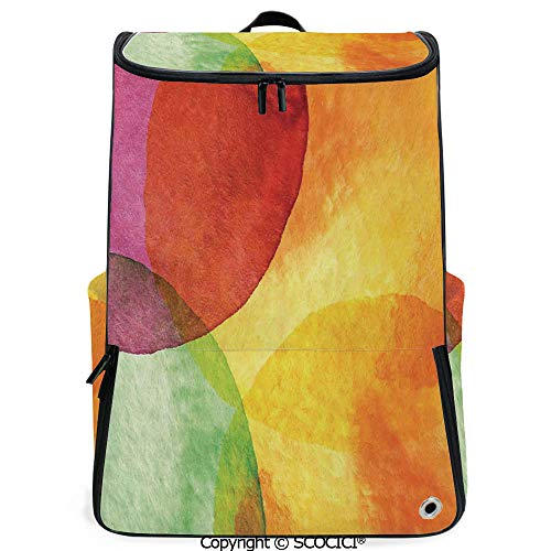 (SCOCICI Large Casual Backpack,Abstract Watercolor Painted Paper Style in Modern Art Design Print Decorative,Yellow Orange Lime Green,Backpack with Shoes Compartment)