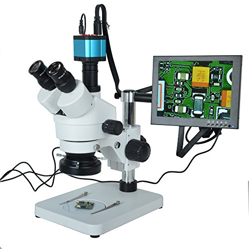 Aihome7X-45X Trinocular Microscope Inspection Zoom Stereo HD 14MP HDMI USB Calibrate Camera+144 LED Ring Light+10 inch HD HDMI LCD Monitor by Aihome