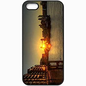 Protective Case Back Cover For iPhone 5 5S Case London Tower Bridge Sunset Black