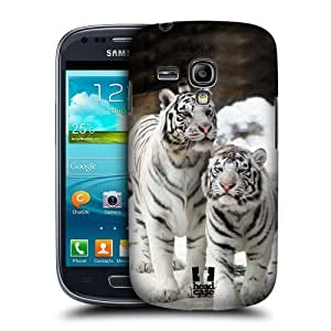 AIYAYA Samsung Case Designs Two White Tigers Famous Animals Protective Snap-on Hard Back Case Cover for Samsung Galaxy S3 III mini I8190