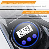 AstroAI Portable Air Compressor Pump, Tire Inflator with Gauge 12V DC Digital Car Air Pump 100PSI with LED Light, Larger Air Flow, Extra Nozzle Adaptors for Car, Bicycle, Motorcycle Ball Air Mattress