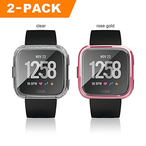 Fitbit Versa Case, 2 PACK Belyoung Soft TPU Slim Fit Full Cover Screen Protector for Fitbit Versa Smartwatch by Belyoung (Image #1)