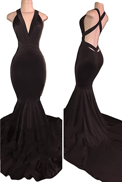 b6683252917 VikDressy Women s Sexy Backless Mermaid Prom Dresses 2018 Long Velvet  Evening Gowns Black