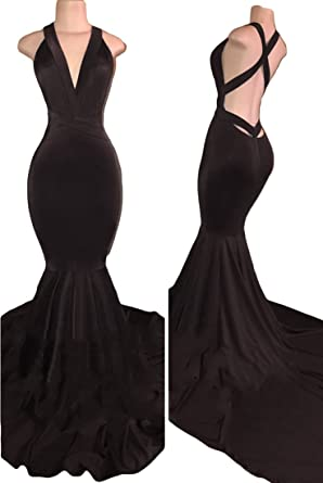 VikDressy Womens Sexy Backless Mermaid Prom Dresses 2018 Long Velvet Evening Gowns