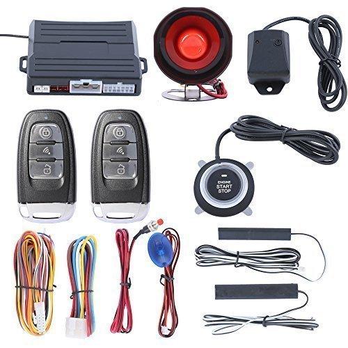 EASYGUARD ec007 Hopping Code PKE Car Alarm System with Keyless Entry remote start keyless go system Vibration Alarm DC12V