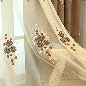TIYANA Brown Embroidered Sheer Curtain Extra Wide for Living Room Rod Pocket Royal Design Delicate Embroidery Screening Sheer Tulle Curtain Panel, Brown Embroidered Gauze, 1 Piece 114×84 inch