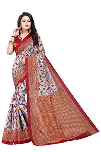 Shonaya Women`S Bhagalpuri Silk Printed Saree with Unstitched Blouse Piece (Maroon) by Shonaya