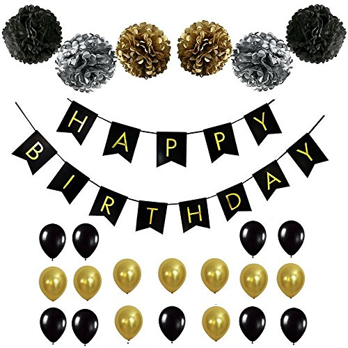 BLACK and GOLD PARTY DECORATION SET – Flawless Birthday Decoration Set Containing a HAPPY BIRTHDAY Banner, Black and Gold Balloons with Matching Pom Poms, Perfect For Any Age - 20th, 30th, 40th+ - 20th Birthday Decorations