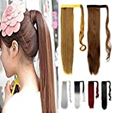 FUT Clip in Wrap Around Ponytail 3-5 Days Delivery 24inch 90g Straight Pony Tial Hair Extensions for Girl Lady Women Light Brown