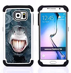 GIFT CHOICE / Defensor Cubierta de protección completa Flexible TPU Silicona + Duro PC Estuche protector Cáscara Funda Caso / Combo Case for Samsung Galaxy S6 SM-G920 // Funny Lol Human Shark Teeth //