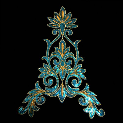 ace Vintage Design DIY Applique Embroidered Sew on Iron on Patch (China Blue Lace)