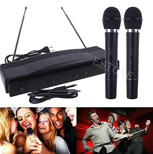Chrome Lav Plug (NEW PRO WIRELESS DUAL MICROPHONE SYSTEM AUDIO HANDHELD 2 x MIC CORDLESS RECEIVER)
