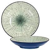 Set of 2 Pieces Japanese 9'' Diameter Porcelain Ao Uchi-Tokusa Lines Dinnerware Serving Plates
