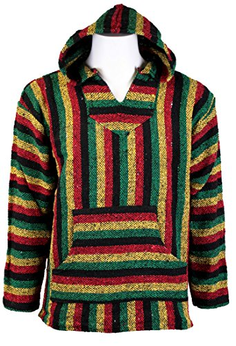 Baja Joe Striped Rasta Hoodie Woven Eco-Friendly Pullover (Large, Rasta)