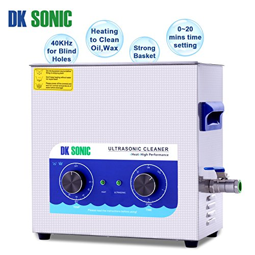 Large Ultrasonic Gun Cleaner Heated - DK SONIC 6L 180W Ultrasonic Parts Cleaner with Heater Basket for Retainer Jewelry Carburetor Eyeglass Ring Fuel Injector Glasses Record Circuit Board 40KHz by DK SONIC (Image #2)