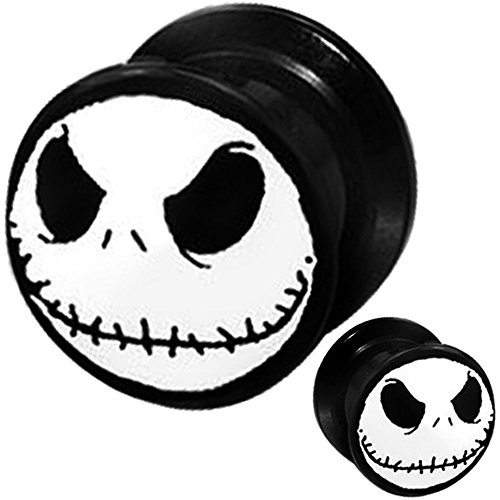 (1 Pair) 8g 6g 4g 2g 0g 00g 1/2 9/16 5/8 11/16 3/4 inch ear plugs and tunnels gauges flare tapers spiral 8 6 4 2 0 00 gauges nightmare (Halloween Ii 1/2)