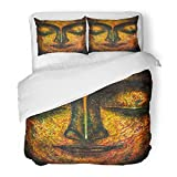 SanChic Duvet Cover Set Watercolor Abstract Oil Painting of Buddha Face with Paint on Canvas Meditation and Budha Decorative Bedding Set with 2 Pillow Shams Full/Queen Size