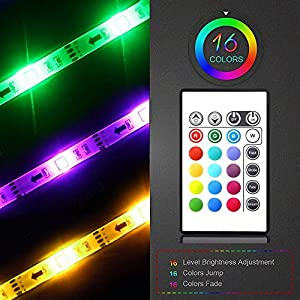Maylit(tm)USB TV Light Strip Backlighting For HDTV Flat Screen TV RGB 16 Color Changing 24keys Remote Included