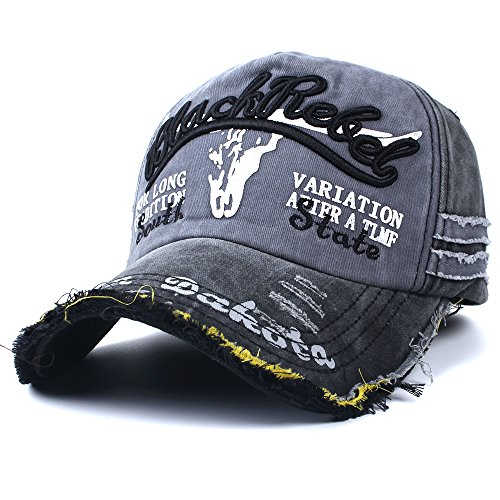 Vankerful Unisex Washed Cotton Distressed Vintage Baseball Caps Dad Hat Two Tone Adjustable Snapback Fashion Embroidered Hip Hop Trucker Hat Black (Embroidered Trucker Mesh Cap)