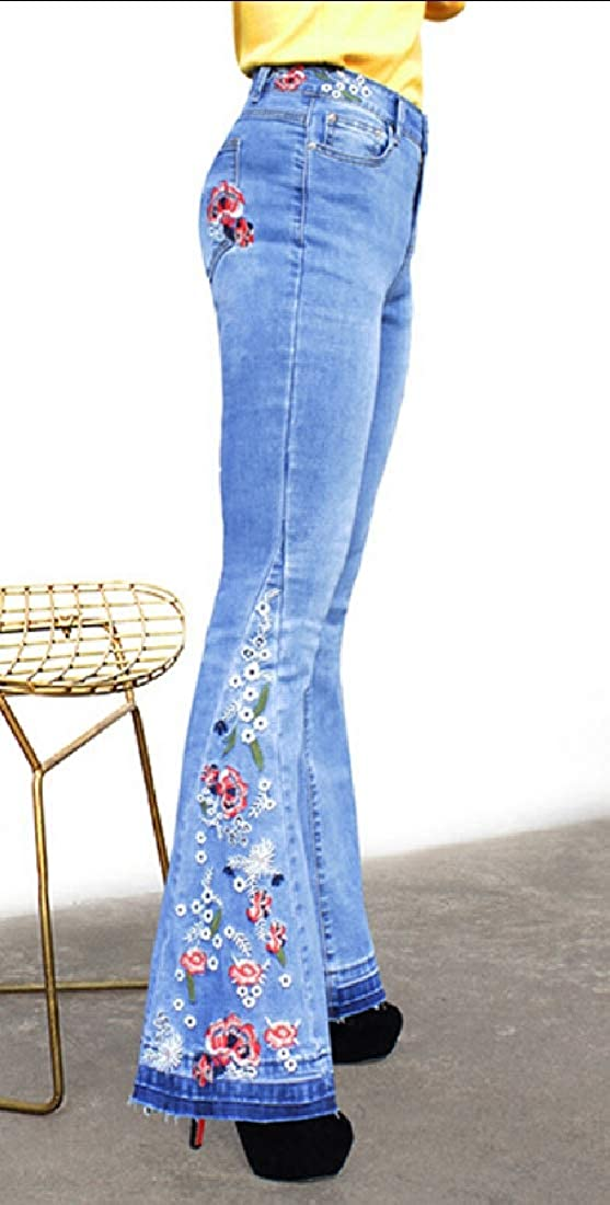 GAGA Women High Rise Flare Jeans Embroidered Bell Bottom Long Denim Pants