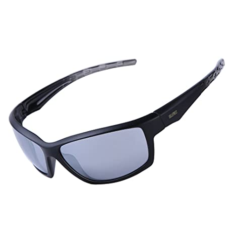 c83f8ac2e0 ULLERES Designer Sports Sunglasses for Men Women Hiking Cycling Baseball  Fishing Golf Motorcycle (Black