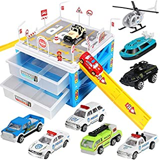 Geyiie Police Station Building Sets, DIY Police Station Building Set, Police Sets with Cop Car, Helicopter, City Car to Play and Practical Ability for Boy Girl Kids