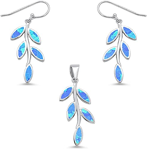 Blue Fire Pendant and Earring set