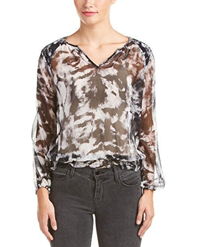 Karen Millen Womens Sheer Silk Blouse, US 2/UK 6, - Millen Karen Uk