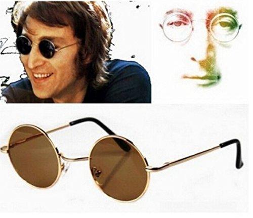 Uv400 Gafas Marrón Lennon Polarizadas Unisex Redondas Jhon Hombres sol de pZqf67wT