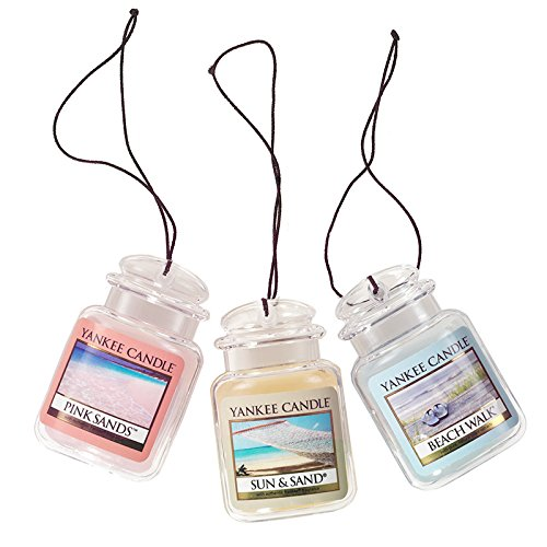 - Yankee Candle Car Jar Ultimate Hanging Air Freshener 3-Pack (Beach Walk, Pink Sands, and Sun & Sand)