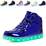 Kids LED Light Up High-top Shoes Rechargeable Hi-Shine Glowing Sneakers for Boys and Girls Child Unisex(blue01,US1/CN33)