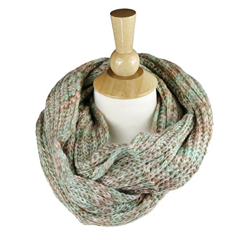 Women's Winter Warm Infinity Cable Knit Cowl Neck Long Scarf Shawl - Salmon - Elixir Cables