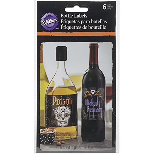 Wilton 1210-1053 Deadly Soiree Bottle Labels, Assorted
