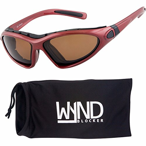 WYND Blocker Vert Motorcycle & Boating Sports Wrap Around Polarized Sunglasses (Red / Amber - Shades Wrap Around