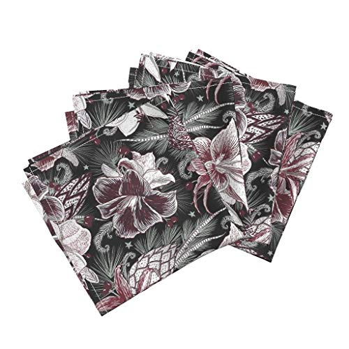 Roostery Floral Organic Sateen Dinner Napkins Botanical Holiday Seasonal Garden Winter by Helenpdesigns Set of 4 Dinner Napkins